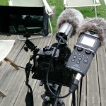GH4+SmallHD-501 avec pare-soleil +Zoom5 + micro canon fixation/suspension maison